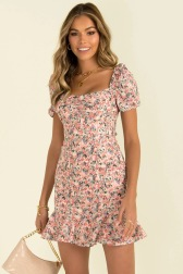 Square Collar Short Sleeve Printed Dress  NSYD50939