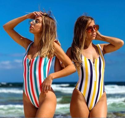 Half Zipper Sling One-piece Swimsuit  NSALS50944