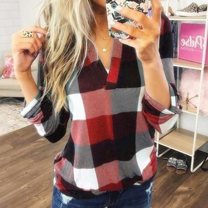 Autumn Fashion Plaid Printed V-neck Long Sleeve Top T-shirt NSSUO57245