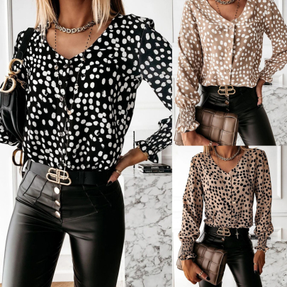 Spring And Autumn Women's Round Neck Polka Dot Print Long Sleeve Shirt NSSUO57248