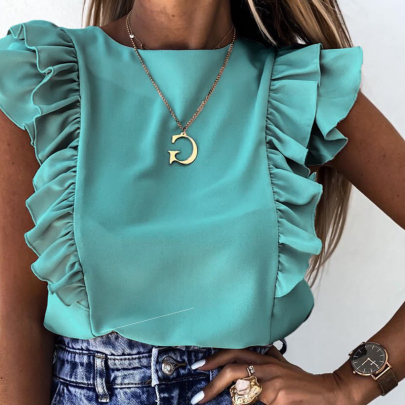 Summer Fashion Solid Color Ruffled Short-sleeved Round Neck All-match Shirt NSSUO57247