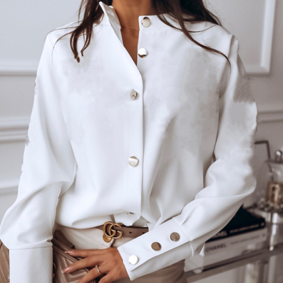Autumn Fashion Long Sleeve Stand Collar Solid Color Long Sleeve Cardigan Shirt NSSUO57232