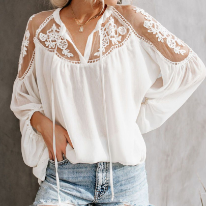 Summer Fashion Perspective V-neck Lace All-match Shirt NSSUO57230