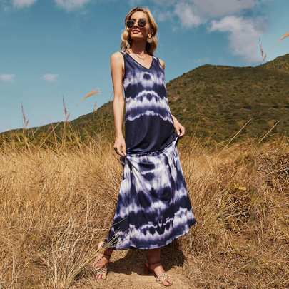 V-neck Sleeveless Sapphire Blue Printing Dyeing Dress NSDF51535