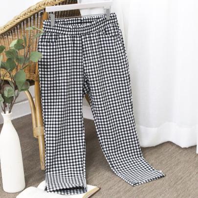 Plus Size Woven Elastic Plaid Trousers NSJR51551