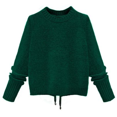 Hole Bow Tie-up Long-sleeved Knitted Tops NSJR51558