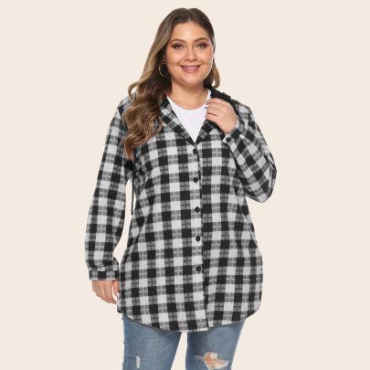 Plus Size Hooded Plaid Pocket Jacket  NSJR51591