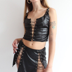 Leather Strapped Hollow Vest & Skirt Two-piece NSRUI51599
