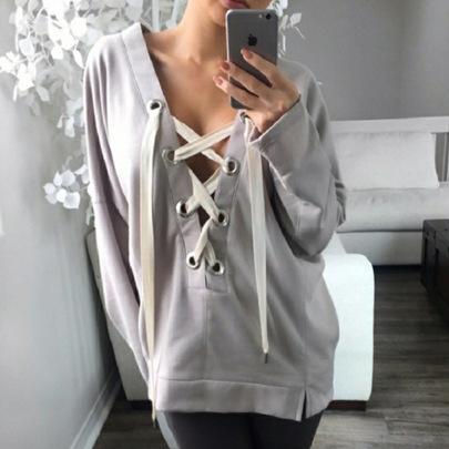 Drawstring V-neck Irregular Sweatershirt NSKL51666
