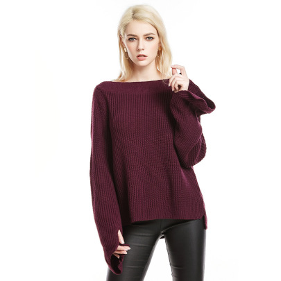 Solid Color Trumpet Sleeve Sweater  NSYH51707