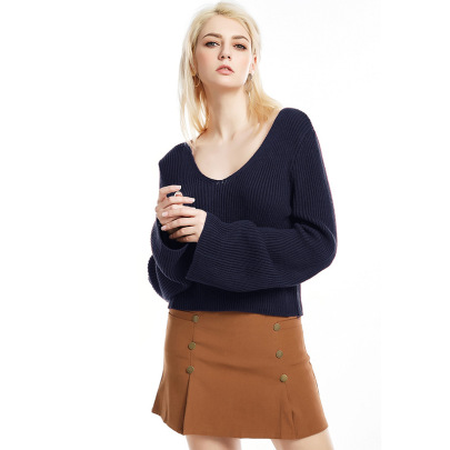 Trumpet Sleeve Sexy V-neck Pullover Sweater  NSYH51708