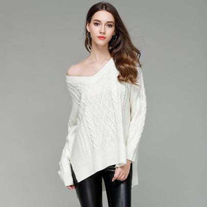 V-neck Hem Split Knitted Pullover  NSYH51711