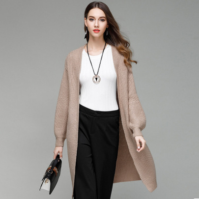 Solid Color Knitted Long Cardigan   NSYH51713