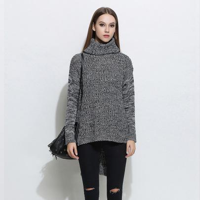 Solid Color Turtleneck Split Sweater  NSYH51714