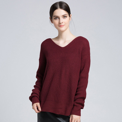 V-neck Back Twist Pullover Knitted Tops NSYH51752