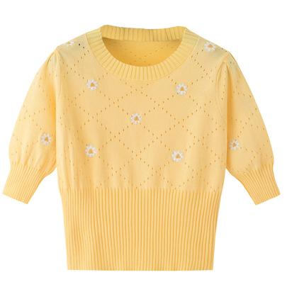 Embroidery Flower Short-sleeved Knit T-shirt NSJR51826