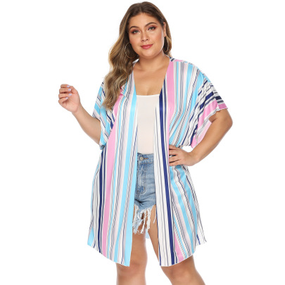 Plus Size Striped Bandage Cardigan  NSOY51851