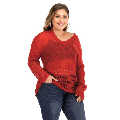 Plus Size Thin Hollow Long-sleeved Woven Pullover NSOY51864