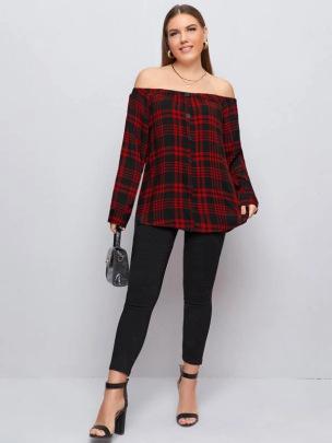 Plaid Off-shoulder Plus Size Shirt NSCX51995