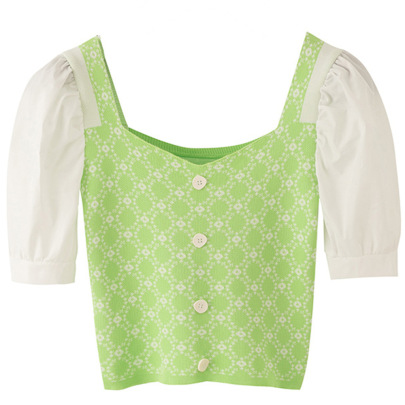 Summer Slim Square Neck Short-sleeved High-waist Umbilical Short Puff Sleeve Top NSJR52108