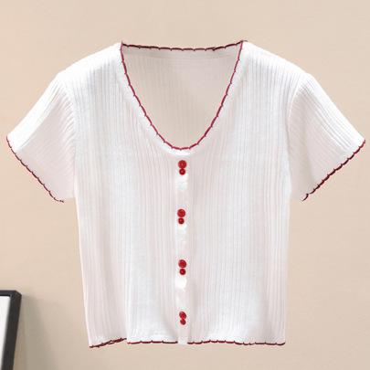 V-neck Short-sleeved Knit Sweater Slim Short Navel T-shirt NSJR52110