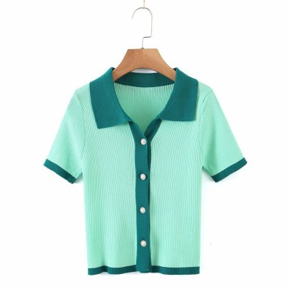 New Ice Silk Color Matching Single-breasted POLO Collar Short-sleeved Knitted Blouse NSAM52290