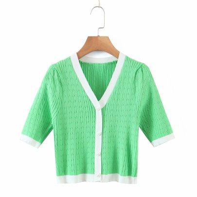 Summer New Slim Short V-neck T-shirt Crop Top Knitted Cardigan NSAM52291