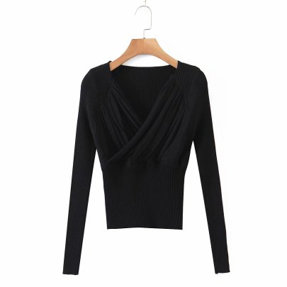 V-neck Pleated Slim Bottoming Sweater Long-sleeved Top Knit Sweater NSAM52295