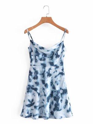Tie-dye Craft High Waist Suspender Dress  NSAM52300