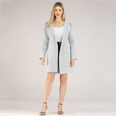 Fashion Double Pockets Solid Color Long Sleeve Hooded Jacket NSJR52370