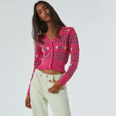 Spring Flower-shaped Decorative Knitted Cardigan NSAM52468