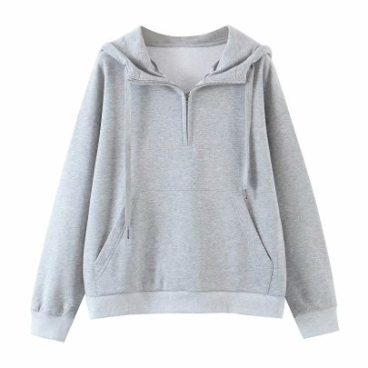 Solid Color Big Pocket Thin Zipper Hooded Sweatershirt  NSAM52764