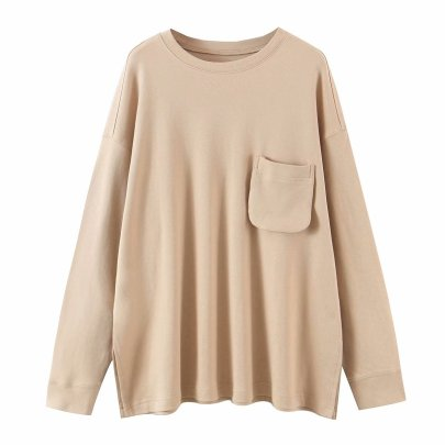 Solid Color Single Pocket Round Neck Cotton Sweatershirt NSAM52792