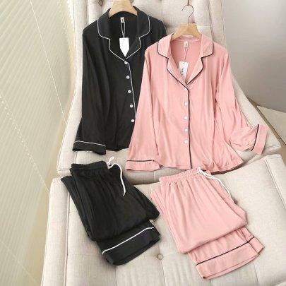 Simple Contrast Color Side Wide Leg Pants Pajamas Set NSAM52919