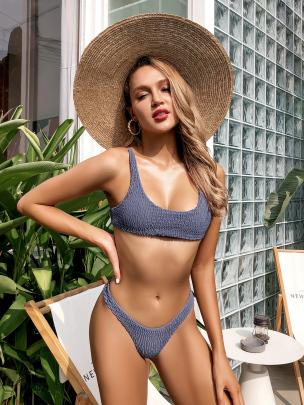 Low Waist Solid Color Elastic Fold Triangle Gather Sexy Halter Tether Bikini NSLUT53756