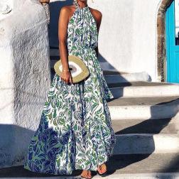 Fashion Floral Halter Off-shoulder Hanging Neck Bohemian Long Dress  NSYF53241