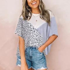 hot spring summer new contrast leopard print loose short-sleeved T-shirt  NSKL53257