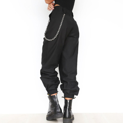 Solid Color Chain Decor Loose Pockets Sports Casual Pants NSJR53259