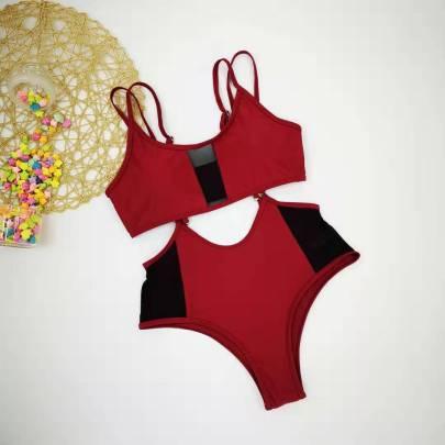 Hollow Mesh High Waist High Cut Split Bikini Swimwear NSLUT53723