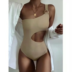 Sexy Backless Hollow Solid Color One-piece Swimsuit  NSDYS54014