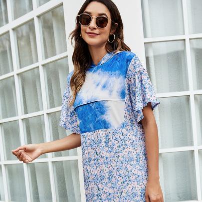 Summer New Style Stitching  Tie-dye Floral Stitching Dress NSLM54039
