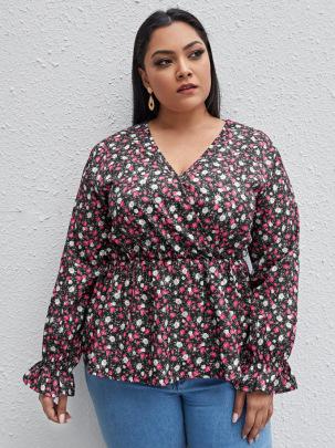 Plus Size V-neck Printing Long-sleeved Shirt NSCX54314