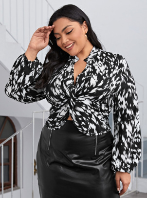New Plus Size V-neck Chest Knotted Printed Shirt NSCX54315