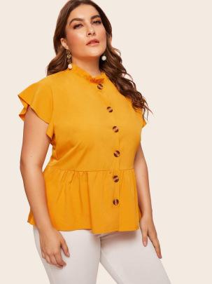 Plus Size Frill Trim Button Front Short Sleeve Top NSCX48195