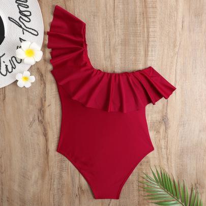 One-shoulder Ruffled High Waist One-piece Swimwear NSHL48206