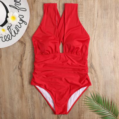 V-neck Cross Strap Halter One-piece Swimsuit NSHL48211