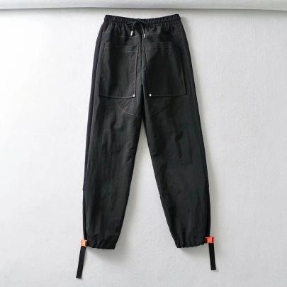 Pocket Elastic Waist Tie Drawstring Pants NSHS48230