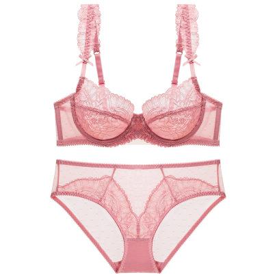 Floral Lace Decor Sheer Underwear Set NSSM48310