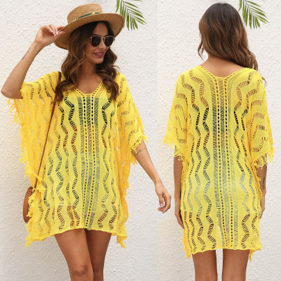 Sexy Hollow Woven Loose Beach Dress  NSOY48472