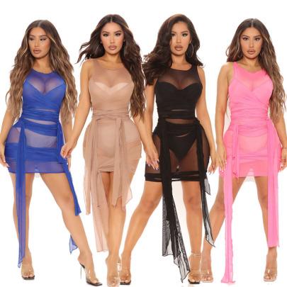 Summer New Sleeveless Tight-fitting Strap High Stretch Mesh Dress NSYMA55675